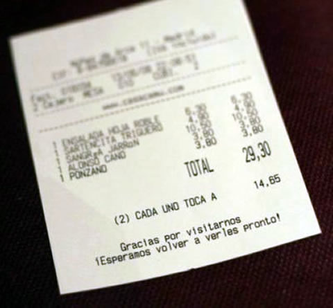 ticket de restaurante